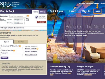 Sign up for SPG